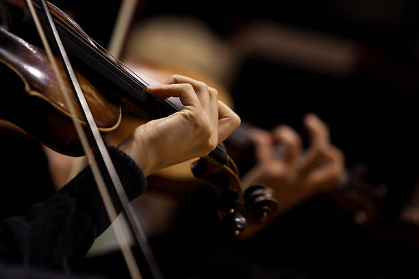 The girl's hand on the strings of a violin The girl's hand on the strings of a violin in dark colors string instrument stock pictures, royalty-free photos & images