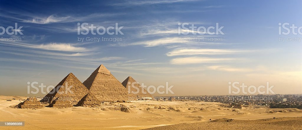 The Giza Plateau skyline stock photo