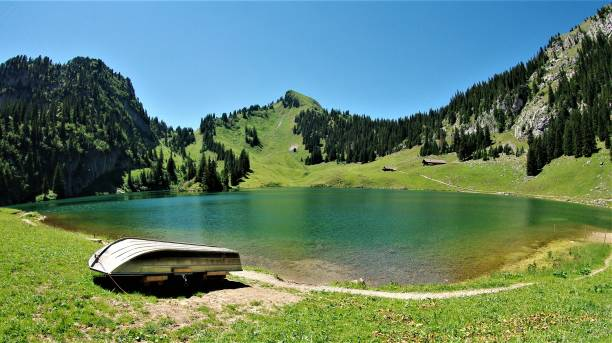 the glacial lakes of the bernese oberland in central switzerland - lakeshore stock photos and pictures