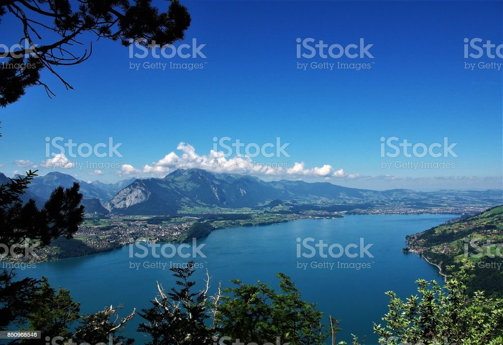 The Glacial Lakes of the Bernese Oberland in Central Switzerland stock photo