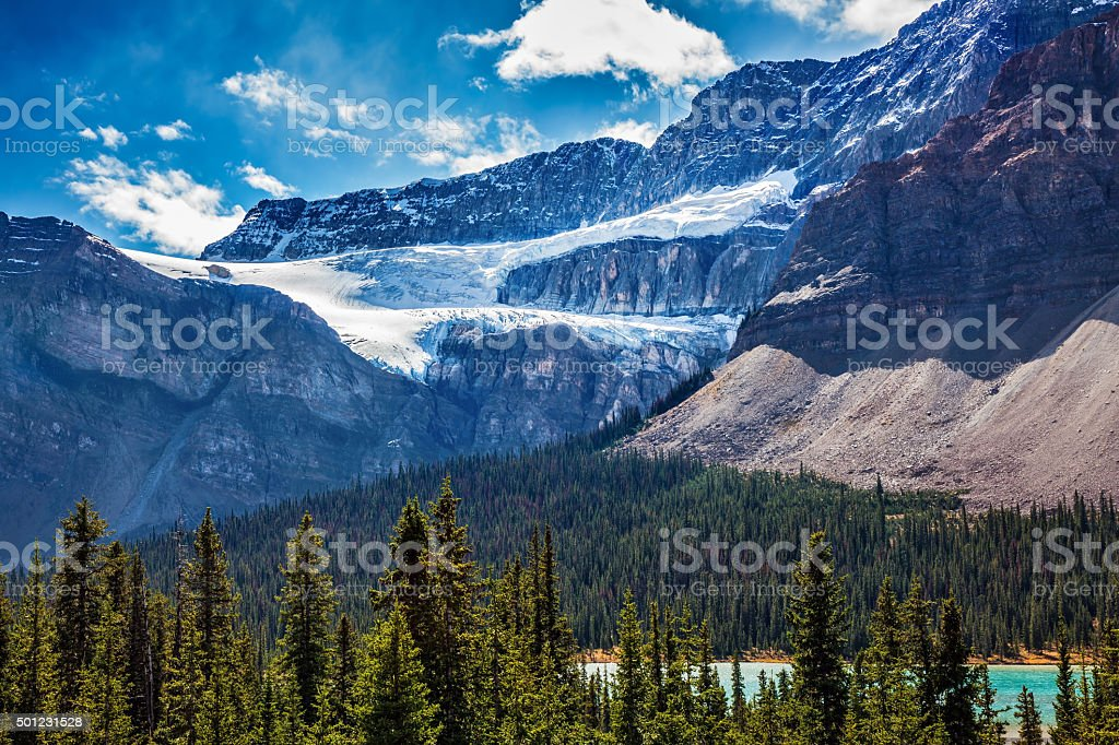 The Glacier Crowfoot over Bow River stock photo