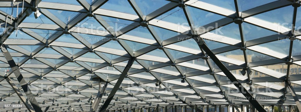 The Glass Ceiling Of The Modern Building Supports A Steel Beams