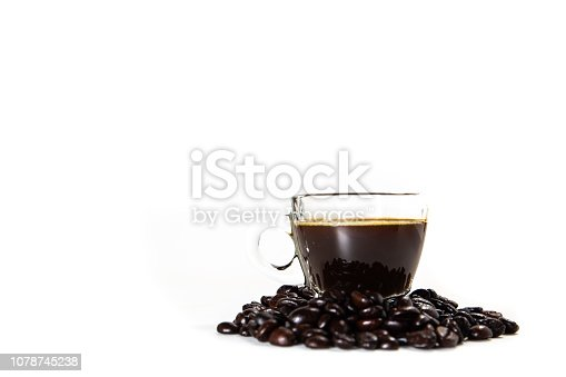 The glass mug of coffee in white background