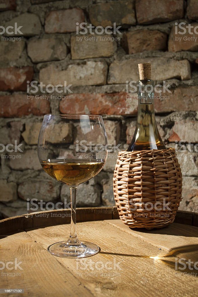 The glass of white wine royalty-free stock photo