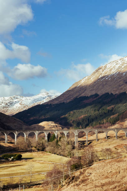 The Glenfinnan Viaduct on a sunny spring day The Glenfinnan Viaduct - railway viaduct, located at the top of Loch Shiel in the West Highlands of Scotland. The viaduct overlooks the Glenfinnan Monument and the waters of Loch Shiel. inverness scotland stock pictures, royalty-free photos & images