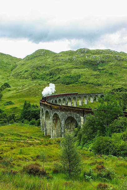 The Glenfinnan Viaduct railway viaduct on the West Highland Line stock photo