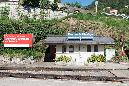 The Glion station of the Montreux–Glion–Rochers-de-Naye railway, Switzerland