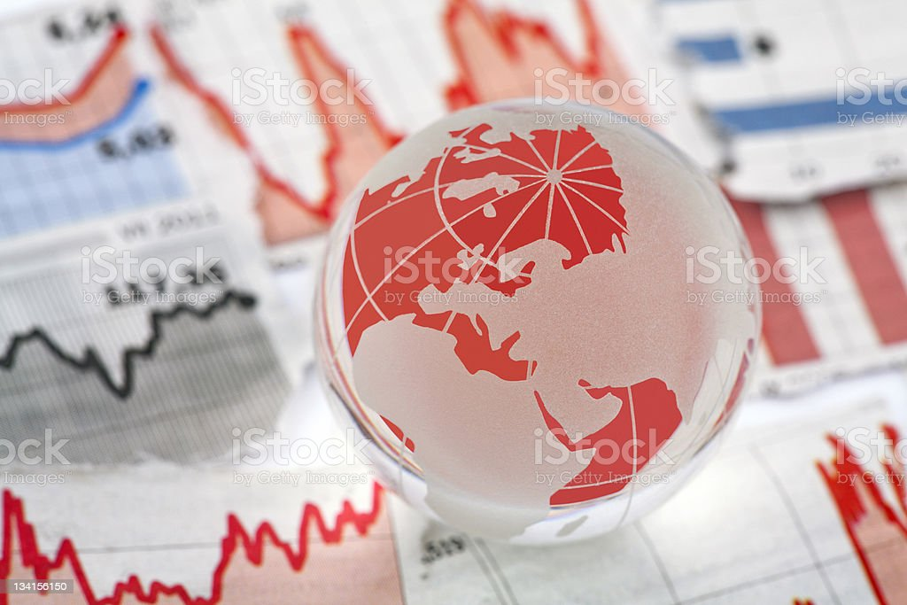 The global finanicial crisis of this world stock photo