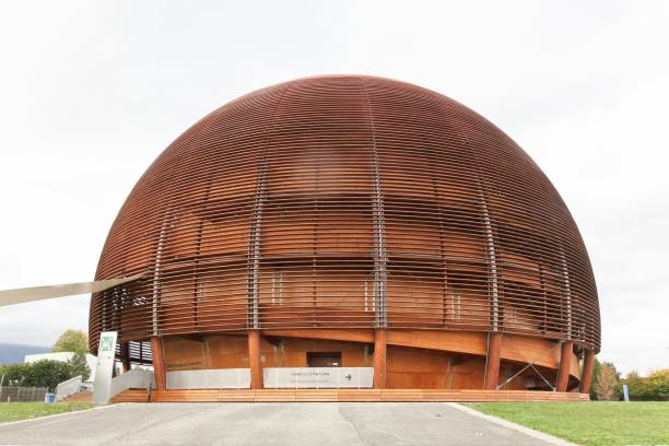 The globe of science and innovation in Meyrin, Switzerland Meyrin,Switzerland - October 1, 2017: The globe of science and innovation in Meyrin at CERN research center, Switzerland large hadron collider stock pictures, royalty-free photos & images