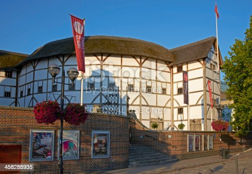 London, United Kingdom - July 24, 2011: Reconstructed of Shakespeare's Globe Theatre on the south bank of the River Thames in London, England. Now used to host the plays of Shakespeare in an authentic setting.