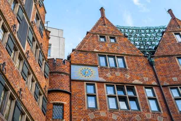 The Glockenspiel House, building in Bremen, Germany. 30 bells of Meissen porcelain chime three times a day stock photo