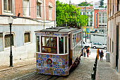 The Gloria Funicular (Ascensor da Gloria) in Lisbon, Portugal