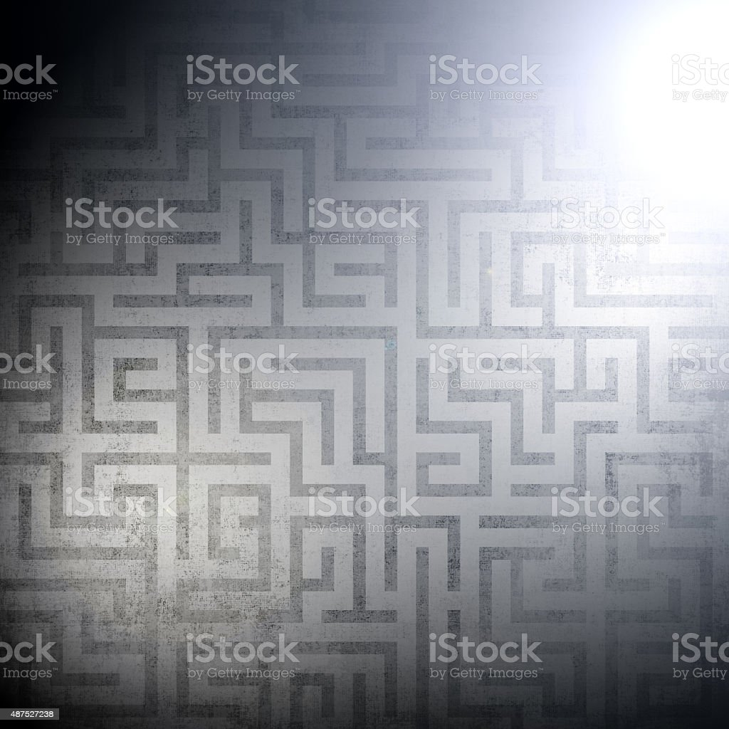 The glow of lights on the dark labyrinth background. stock photo