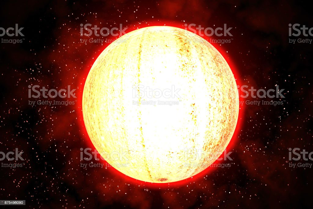 The glowing planet radiates heat in the galaxy. stock photo