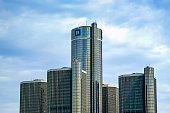 Detroit, MI, USA - July 16, 2006: The GM Renaissance Center, nicknamed the RenCen in downtown Detroit. It is a group of seven interconnected skyscrapers