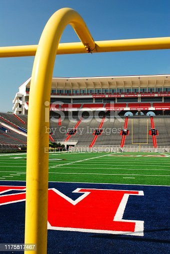 Oxford, MS, USA July 21, 2010 The goal post stands upright at the end zone of the Vaught Hemingway Stadium at the University of Mississippi in Oxford