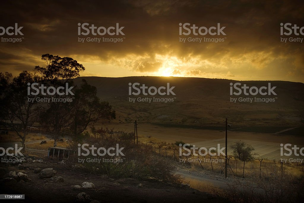 The Golan Heights at Sunrise stock photo