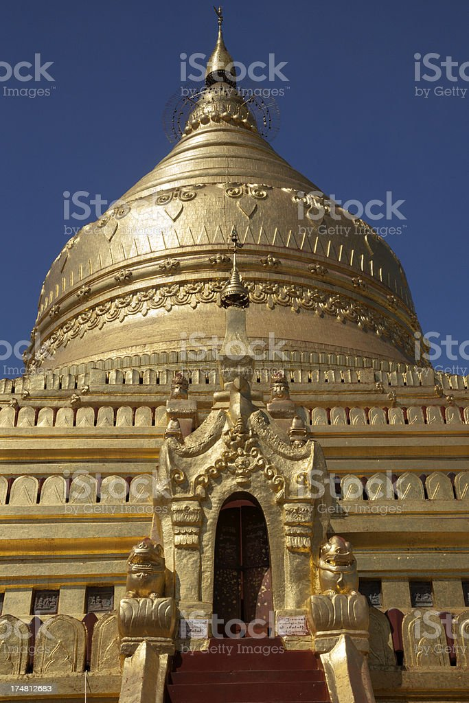 The gold dome of Shwezigon pagoda in Bagan, Myanmar. royalty-free stock photo