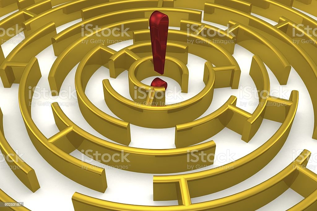 The gold labyrinth with reflection. 3D image. royalty-free stock photo