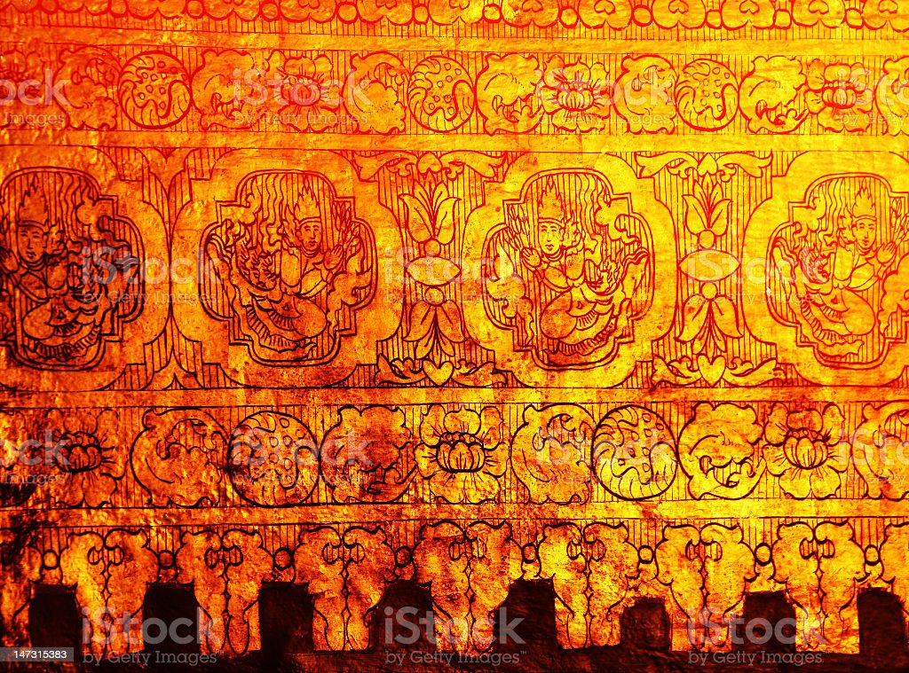 The gold wall of stupa in Myanmar royalty-free stock photo