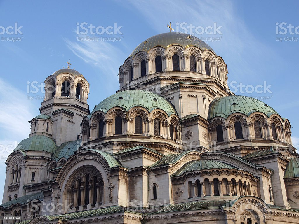 The gold-domed St. Alexander Nevsky Cathedral royalty-free stock photo