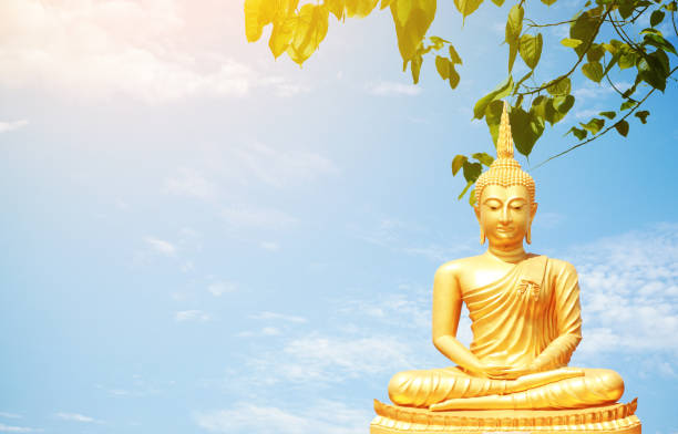 The golden Buddha statues The golden Buddha statues sitting under Bo leaf and bluesky background. religious celebration stock pictures, royalty-free photos & images