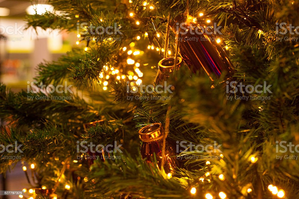 the golden christmas tree stock photo