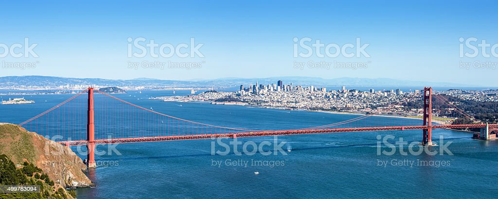 The Golden Gate Bridge and San Francisco at Sunset stock photo