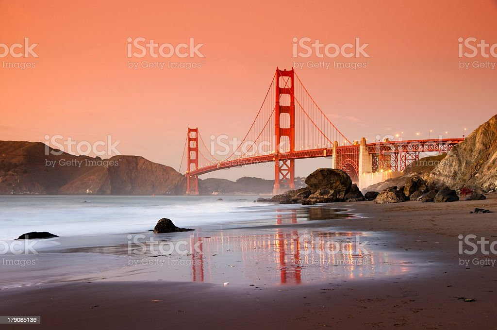 The Golden Gate Bridge at sunset stock photo