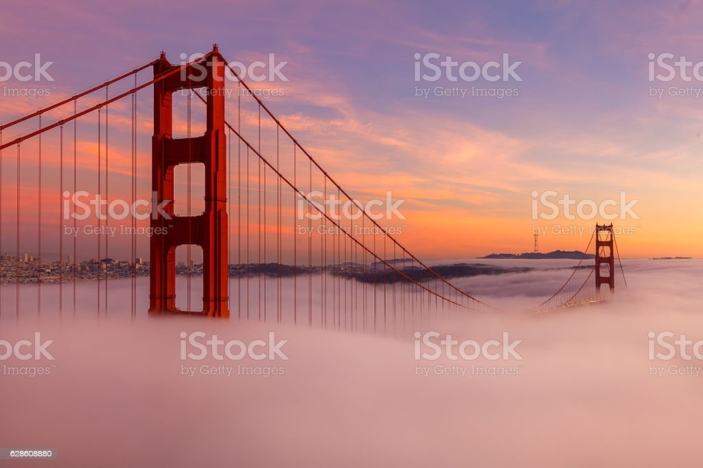 The Golden Gate Bridge During Sunset stock photo