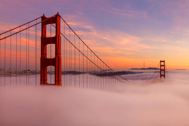 The Golden Gate Bridge During Sunset stock photo