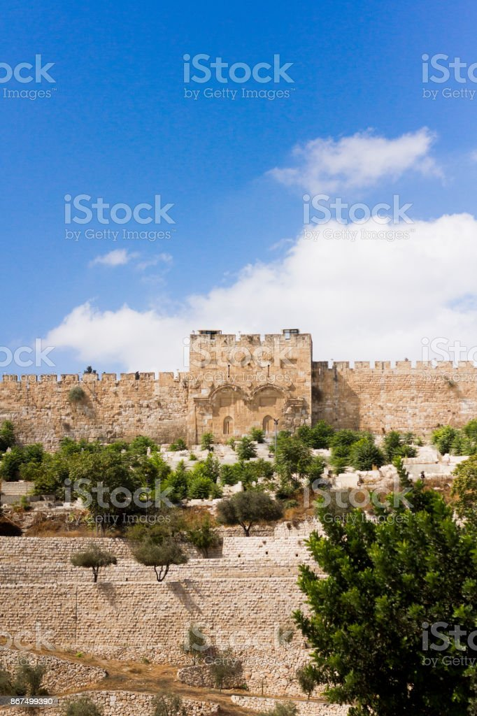The Golden Gate, or Gate of Mercy, in the Ancient Old City Walls of Jerusalem in Israel stock photo