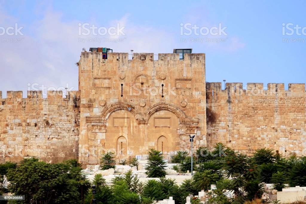 The Golden Gate or Gate of Mercy on the east-side of the Temple Mount of the Old City of Jerusalem, Israel stock photo
