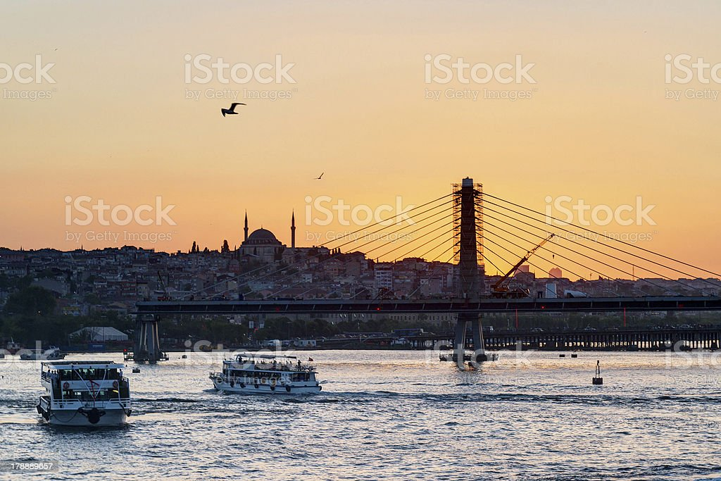 The Golden Horn and cityscape at sunset, Istanbul, Turkey royalty-free stock photo