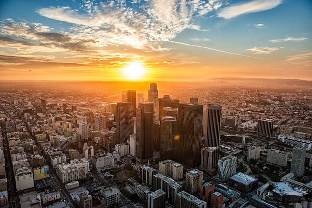 The Golden Hour Landscape view of Los Angeles during the Golden Hour, the most beautiful sunset. Helicopter point of view with many details on image. venice beach stock pictures, royalty-free photos & images