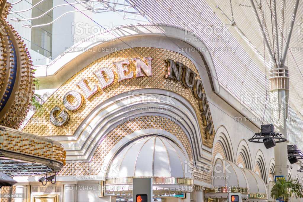The Golden Nugget neon sign at Fremont Street Experience in Las Vegas stock photo