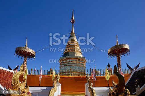 Chiang Mai, Thailand-December 17, 2018: The golden pagoda of Wat Phra That Doi Kham is located in Chiang Mai, Thailand.