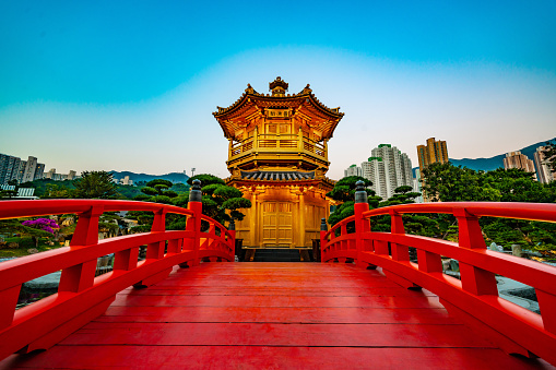 The golden Pavilion of Absolute Perfection in Nan Lian Garden, Chi Lin Nunnery, a large Buddhist temple in Diamond Hill, Kowloon, Hong Kong