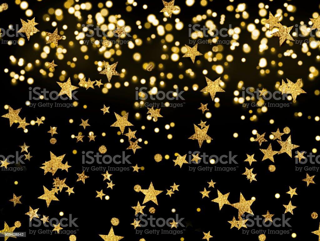 黒の背景、お祝いに星の黄金の雨 ストックフォト