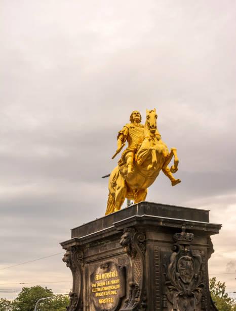 The Golden rider - Golden Rider, Dresden, Saxony stock photo