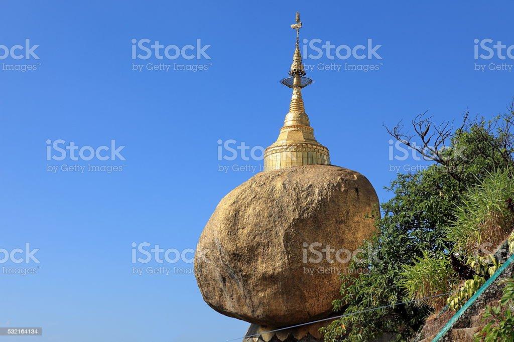 The Golden Rock in Myanmar stock photo