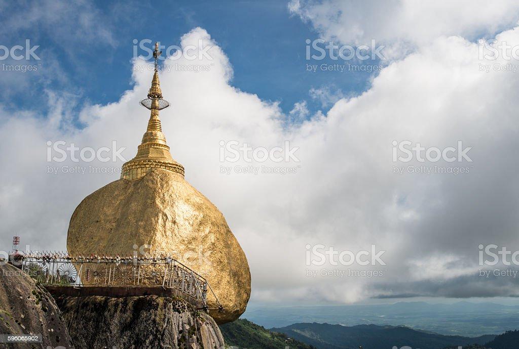 The golden rock pagoda (Kyaikhtiyo) in Myanmar. royalty-free stock photo