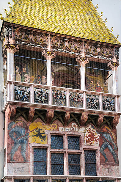 the golden roof detail- innsbruck - maximilian stock-fotos und bilder