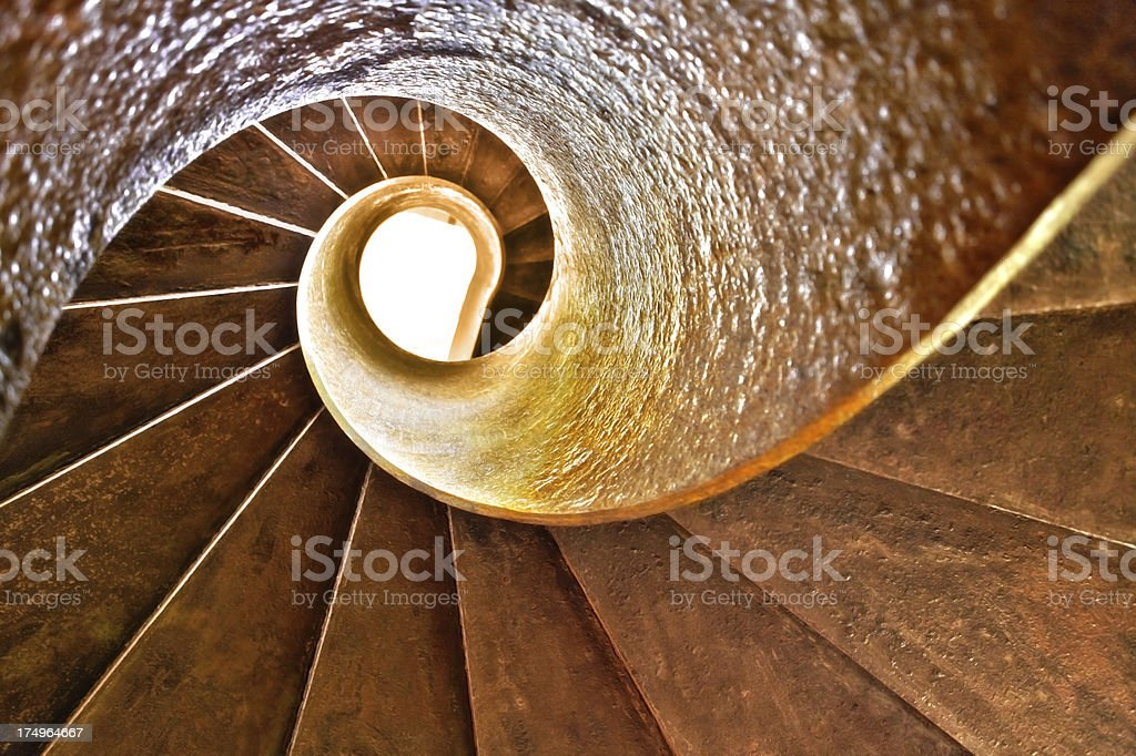 The golden section ratio of spiral staircae stock photo