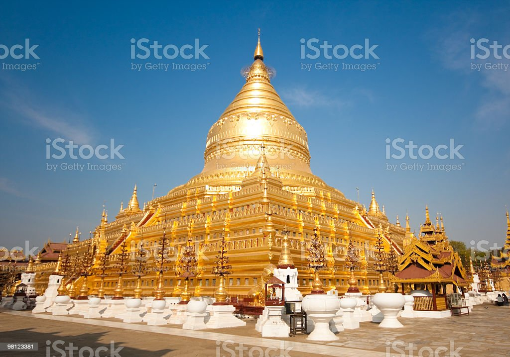 The golden Shwezigon Paya in Bagan, Myanmar royalty-free stock photo