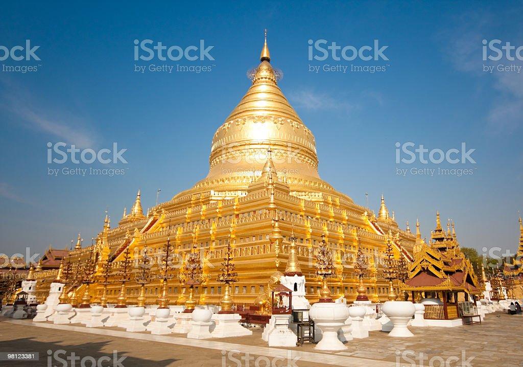 The golden Shwezigon Paya in Bagan, Myanmar stock photo