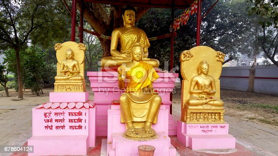 Sarnath in Uttar Pradesh, India near Varanasi is where Gautama Buddha first taught the Dharma, and where the Buddhist Sangha came into existence. Gautam Buddha was enlightned at this place.