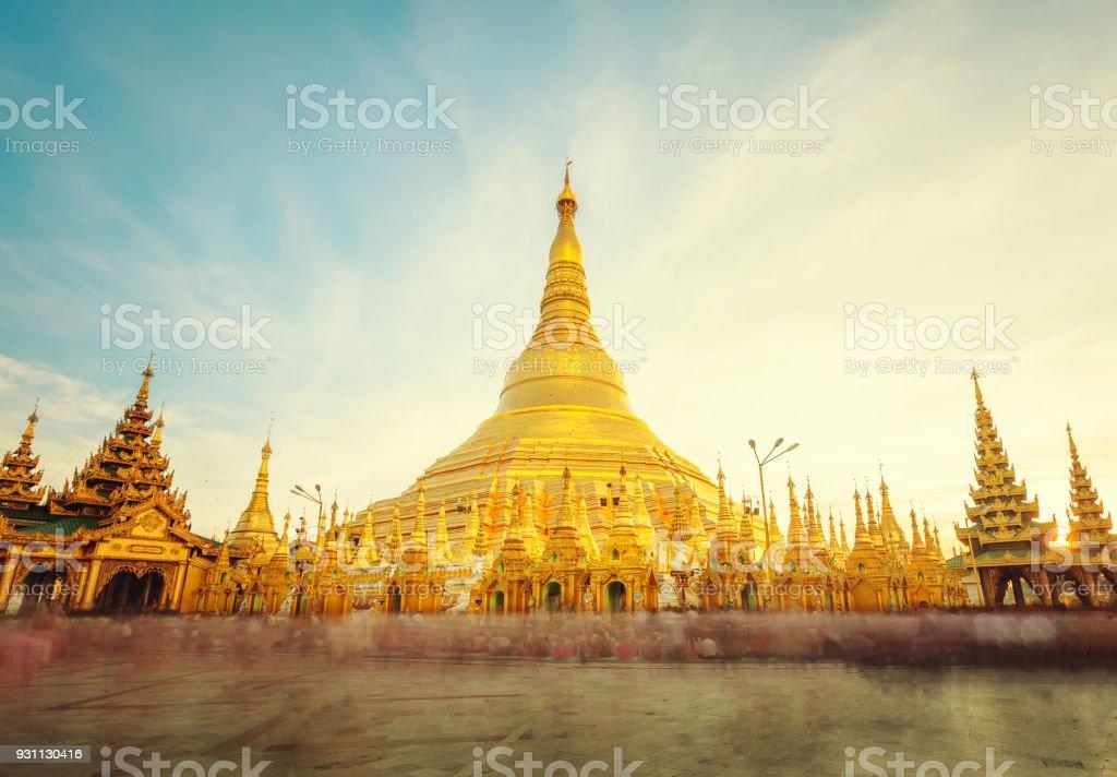 The golden stupa of the Shwedagon Pagoda Yangon (Rangoon), Landmark of Myanmar or Burma. stock photo
