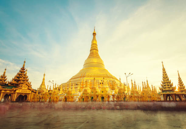 The golden stupa of the Shwedagon Pagoda Yangon (Rangoon), Landmark of Myanmar or Burma. The golden stupa of the Shwedagon Pagoda Yangon (Rangoon), Landmark of Myanmar or Burma. pagoda stock pictures, royalty-free photos & images