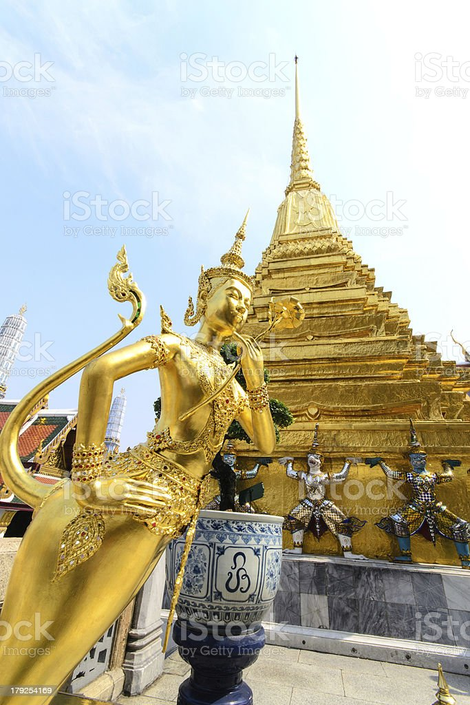 The golden Thai fairy bird on half human royalty-free stock photo